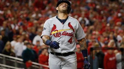 <p>               St. Louis Cardinals' Yadier Molina reacts after being hit by a pitch during the eighth inning of Game 4 of the baseball National League Championship Series against the Washington Nationals Tuesday, Oct. 15, 2019, in Washington. (AP Photo/Jeff Roberson)             </p>