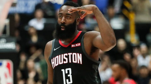 <p>               Houston Rockets' James Harden celebrates his three-point basket during the first half of an NBA preseason basketball game against the Toronto Raptors Tuesday, Oct. 8, 2019, in Saitama, near Tokyo. (AP Photo/Jae C. Hong)             </p>