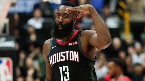 <p>               Houston Rockets' James Harden celebrates his three-point basket during the first half of an NBA preseason basketball game against the Toronto Raptors Tuesday, Oct. 8, 2019, in Saitama, near Tokyo. (AP Photo/Jae C. Hong)             </p>