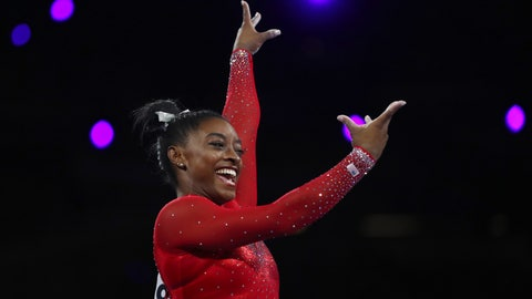 <p>               Gold medalist Simone Biles of the United States performs on the vault in the women's apparatus finals at the Gymnastics World Championships in Stuttgart, Germany, Saturday, Oct. 12, 2019. (AP Photo/Matthias Schrader)             </p>