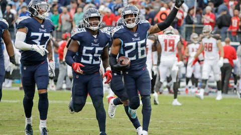 <p>               Tennessee Titans cornerback Logan Ryan (26) celebrates after intercepting a pass to stop the final drive by the Tampa Bay Buccaneers in the fourth quarter of an NFL football game Sunday, Oct. 27, 2019, in Nashville, Tenn. The Titans won 27-23. (AP Photo/James Kenney)             </p>