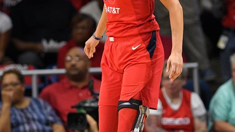 <p>               Washington Mystics forward Elena Delle Donne stands on the court in the first half of Game 2 of basketball's WNBA Finals against the Connecticut Sun, Tuesday, Oct. 1, 2019, in Washington. (AP Photo/Nick Wass)             </p>
