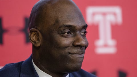 <p>               FILE - In this April 2, 2019, file photo Temple NCAA college basketball coach Aaron McKie listens to his introduction during a news conference in Philadelphia. McKie is just the third head coach for Temple since Hall of Famer John Chaney was hired in 1982. (AP Photo/Matt Rourke, File)             </p>