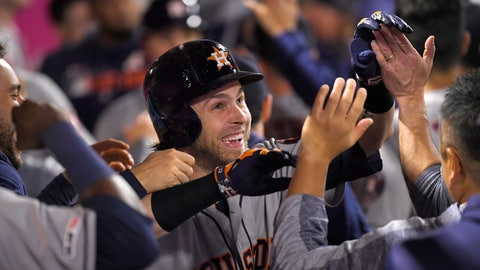 <p>               Houston Astros' Josh Reddick is congratulated by teammates in the dugout after hitting a three-run home run during the sixth inning of a baseball game against the Los Angeles Angels Saturday, Sept. 28, 2019, in Anaheim, Calif. (AP Photo/Mark J. Terrill)             </p>