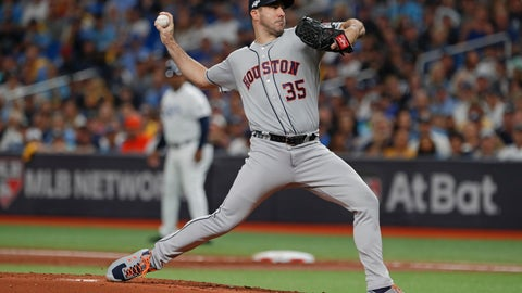 <p>               Houston Astros' Justin Verlander pitches against the Tampa Bay Rays in the first inning of Game 4 of a baseball American League Division Series, Tuesday, Oct. 8, 2019, in St. Petersburg, Fla. (AP Photo/Scott Audette)             </p>