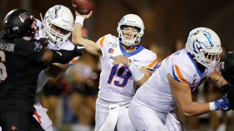 <p>               Boise State quarterback Hank Bachmeier throws a pass against UNLV during the second half of an NCAA college football game Saturday, Oct. 5, 2019, in Las Vegas. (AP Photo/John Locher)             </p>