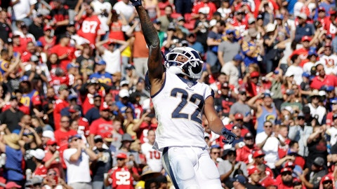 <p>               Los Angeles Rams cornerback Marcus Peters (22) jumps after intercepting a pass in the end zone during the first half of an NFL football game against the San Francisco 49ers Sunday, Oct. 13, 2019, in Los Angeles. (AP Photo/Alex Gallardo)             </p>