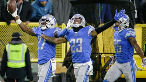 <p>               Detroit Lions cornerback Justin Coleman (27) celebrates an interception against the Green Bay Packers with teammates Darius Slay (23) and Will Harris (25) during the second half of an NFL football game Monday, Oct. 14, 2019, in Green Bay, Wis. (AP Photo/Mike Roemer)             </p>