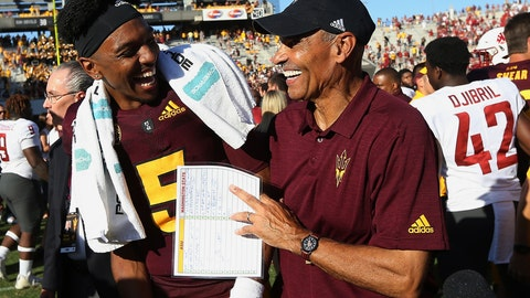 <p>               Arizona State quarterback Jayden Daniels (5) celebrates with head coach Herm Edwards, right, after an NCAA college football game win over Washington State, Saturday, Oct. 12, 2019, in Tempe, Ariz. (AP Photo/Ross D. Franklin)             </p>
