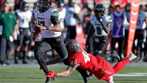 <p>               Hawaii quarterback Cole McDonald (13) is tackled by New Mexico linebacker Brandon Shook (46) during the second half of an NCAA college football game on Saturday, Oct. 26, 2019, in Albuquerque, N.M. (AP Photo/Andres Leighton)             </p>