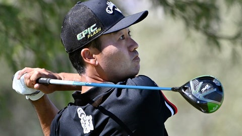 <p>               Kevin Na tees off on the third hole during the final round of Shriners Hospitals for Children Open golf tournament Sunday, Oct. 6, 2019, in Las Vegas. (AP Photo/David Becker)             </p>