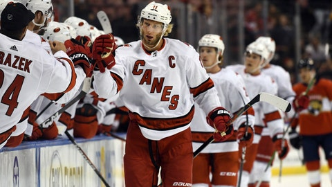 <p>               Carolina Hurricanes center Jordan Staal (11) celebrates a goal during the first period of an NHL hockey game against the Florida Panthers. Tuesday, Oct. 8, 2019, in Sunrise, Fla. (AP Photo/Jim Rassol)             </p>