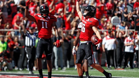 <p>               Texas Tech's Dalton Rigdon (86) celebrates after scoring a touchdown during the second half of an NCAA college football game against Oklahoma State, Saturday, Oct. 5, 2019, in Lubbock, Texas. (AP Photo/Brad Tollefson)             </p>