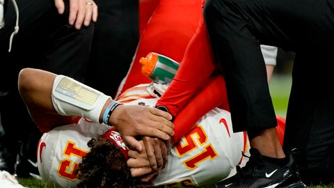 <p>               Kansas City Chiefs quarterback Patrick Mahomes (15) is helped by trainers after getting injured against the Denver Broncos during the first half of an NFL football game, Thursday, Oct. 17, 2019, in Denver. (AP Photo/Jack Dempsey)             </p>