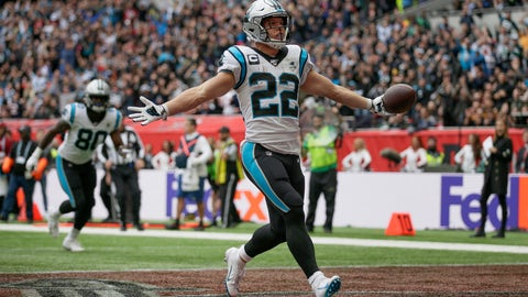 <p>               Carolina Panthers running back Christian McCaffrey (22) reacts after scoring a touchdown against the Tampa Bay Buccaneers during the second quarter of an NFL football game, Sunday, Oct. 13, 2019, at Tottenham Hotspur Stadium in London. (AP Photo/Tim Ireland)             </p>