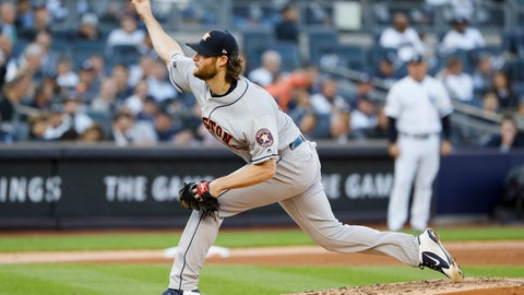 <p>               Houston Astros starting pitcher Gerrit Cole throws against the New York Yankees during the second inning in Game 3 of baseball's American League Championship Series Tuesday, Oct. 15, 2019, in New York. (AP Photo/Matt Slocum)             </p>