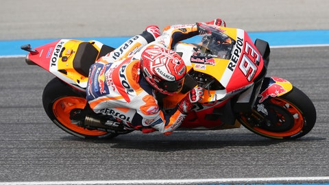 <p>               Spain's rider Marc Marquez of the Repsol Honda Team rides during final round Thailand's MotoGP at the Chang International Circuit in Buriram, Thailand, Sunday, Oct. 6, 2019. (AP Photo/Sakchai Lalit)             </p>