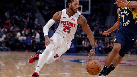 <p>               Detroit Pistons guard Derrick Rose (25) drives around Indiana Pacers guard Malcolm Brogdon (7) during the first half of an NBA basketball game, Monday, Oct. 28, 2019, in Detroit. (AP Photo/Carlos Osorio)             </p>