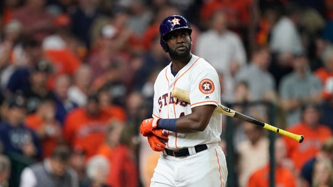 <p>               Houston Astros' Yordan Alvarez reacts after striking out with bases loaded to end the seventh inning of Game 1 of the baseball World Series against the Washington Nationals Tuesday, Oct. 22, 2019, in Houston. (AP Photo/David J. Phillip)             </p>