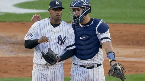 <p>               New York Yankees catcher Gary Sanchez talks on the mound with starting pitcher Luis Severino (40) during the fourth inning of Game 3 of baseball's American League Championship Series against the Houston Astros, Tuesday, Oct. 15, 2019, in New York. (AP Photo/Seth Wenig)             </p>