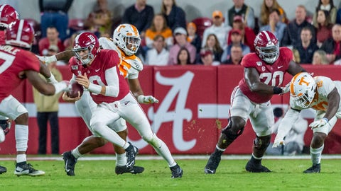 <p>               Alabama quarterback Mac Jones (10) carries the ball against Tennessee during the second half of an NCAA college football game Saturday, Oct. 19, 2019, in Tuscaloosa, Ala. (AP Photo/Vasha Hunt)             </p>