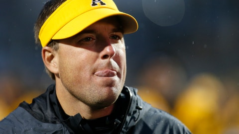 <p>               Appalachian State head coach Eliah Drinkwitz makes his way back to the locker room following an NCAA college football game against Louisiana Monroe Saturday, Oct. 19, 2019, in Boone, NC. (AP Photo/Brian Blanco)             </p>