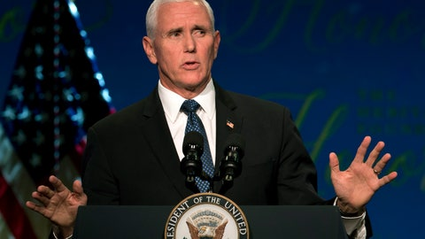 <p>               Vice President Mike Pence speaks at the Heritage Foundation Honors in Washington, Tuesday, Oct. 22, 2019. (AP Photo/Jose Luis Magana)             </p>