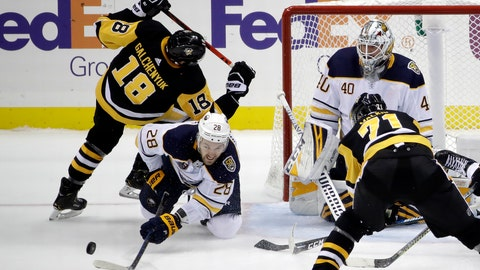 <p>               Buffalo Sabres' Zemgus Girgensons (28) clears the puck in front of goaltender Carter Hutton (40) while Pittsburgh Penguins' Alex Galchenyuk (18) and Evgeni Malkin (71) look for a shot near the end of an NHL hockey game in Pittsburgh, Thursday, Oct. 3, 2019. The Sabres won 3-1. (AP Photo/Gene J. Puskar)             </p>