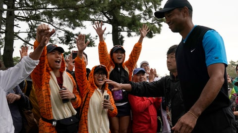 <p>               Tiger Woods of the United States walks near his fans on the 4th hole during the third round of the Zozo Championship PGA Tour at the Accordia Golf Narashino country club in Inzai, east of Tokyo, Japan, Sunday, Oct. 27, 2019. (AP Photo/Lee Jin-man)             </p>