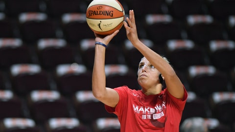 <p>               Washington Mystics' Elena Delle Donne warms up before Game 3 of basketball's WNBA Finals against the Connecticut Sun, Sunday, Oct. 6, 2019, in Uncasville, Conn. (AP Photo/Jessica Hill)             </p>