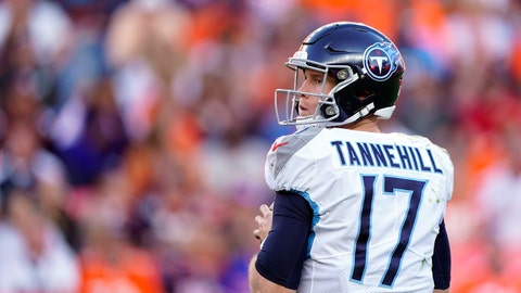 <p>               Tennessee Titans quarterback Ryan Tannehill looks to throw a pass during the second half of an NFL football game against the Denver Broncos, Sunday, Oct. 13, 2019, in Denver. (AP Photo/Jack Dempsey)             </p>