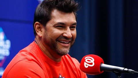 <p>               Washington Nationals manager Dave Martinez smiles during a news conference Thursday, Oct. 24, 2019, in Washington. The Nationals and the Houston Astros are scheduled to play Game 3 of baseball's World Series on Friday. (AP Photo/Patrick Semansky)             </p>