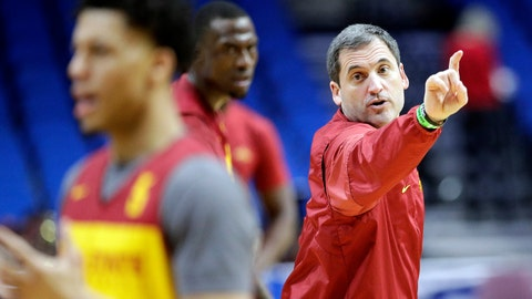 <p>               FILE - In this March 21, 2019, file photo ,Iowa State head coach Steve Prohm talks to his players during practice at the NCAA men's college basketball tournament in Tulsa, Okla. For most teams, losing nearly 70 percent of their scoring and over 60 percent of their rebounding would mean that a rebuilding season was imminent. At Iowa State, it's just the latest chance to give a new batch of players a crack at the Big 12 title.  (AP Photo/Charlie Riedel, File)             </p>