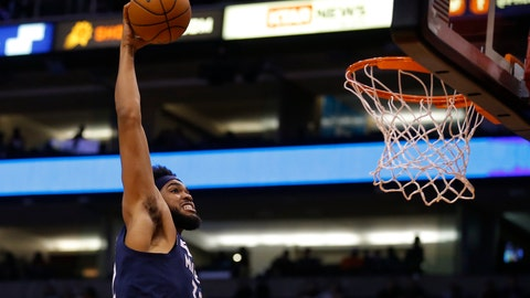 <p>               Minnesota Timberwolves center Karl-Anthony Towns dunks against the Phoenix Suns during the first half of a preseason NBA basketball game Tuesday, Oct. 8, 2019, in Phoenix. (AP Photo/Rick Scuteri)             </p>