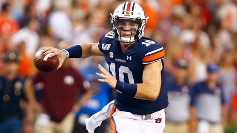 <p>               Auburn quarterback Bo Nix (10) rolls out to pass during the first half of an NCAA college football game against Mississippi State, Saturday, Sept. 28, 2019, in Auburn, Ala. (AP Photo/Butch Dill)             </p>