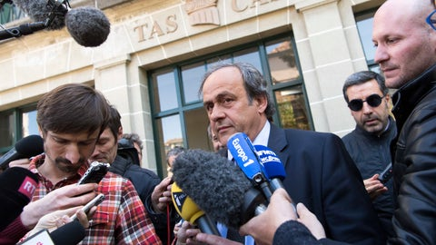 <p>               FILE - In this Friday, April 29, 2016 file photo, UEFA President Michel Platini leaves the international Court of Arbitration for Sport, CAS, after a hearing in Lausanne, Switzerland. Michel Platini is free to work in soccer again on Tuesday, Oct. 8, 2019 morning after his four-year ban by FIFA expires overnight. The former UEFA president told The Associated Press on Monday unsure he is where and when he will return. (Laurent Gillieron/Keystone via AP, file)             </p>