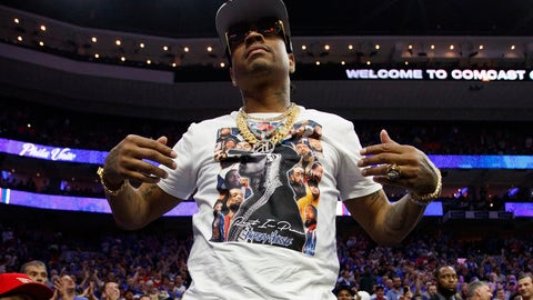 """<p>               FILE - In this May 2, 2019 file photo, former Philadelphia 76ers' Allen Iverson reacts to the crowd during the first half of Game 3 of a second-round NBA basketball playoff series against the Toronto Raptors in Philadelphia. Iverson is a more frequent presence at 76ers games. He had a beer named after him and was a recent answer on """"Jeopardy."""" The 2001 NBA MVP still pops up as a pop culture fixture almost as much as the days when he was the cool and controversial All-Star over a Hall of Fame career in Philadelphia. (AP Photo/Chris Szagola, File)             </p>"""