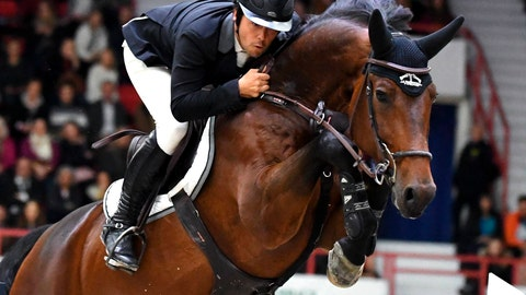 <p>               Sergio Alvarez Moya of Spain, with horse Jet Run, takes 2nd place at the Longines FEI Jumping World Cup 165 cm during the Helsinki International Horse Show in Helsinki, Finland, Sunday Oct. 27, 2019. (Jussi Nukari/Lehtikuva via AP)             </p>