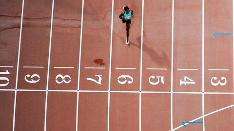 <p>               Shaunae Miller-Uibo, of Bahamas, wins her heat in the women's 400 meter semi finals at the World Athletics Championships in Doha, Qatar, Tuesday, Oct. 1, 2019. (AP Photo/Morry Gash)             </p>