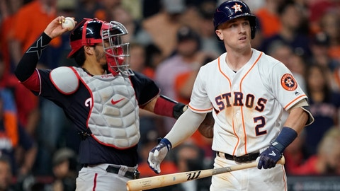 <p>               Houston Astros' Alex Bregman reacts after striking out during the ninth inning of Game 1 of the baseball World Series against the Washington Nationals Tuesday, Oct. 22, 2019, in Houston. (AP Photo/David J. Phillip)             </p>