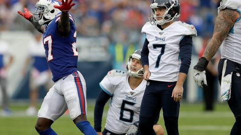 <p>               Buffalo Bills cornerback Tre'Davious White (27) celebrates as Tennessee Titans kicker Cairo Santos (7) and holder Brett Kern (6) watch as Santos misses his fourth straight field goal attempt in the second half of an NFL football game Sunday, Oct. 6, 2019, in Nashville, Tenn. (AP Photo/James Kenney)             </p>