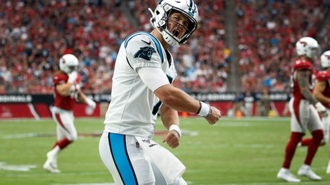 <p>               Carolina Panthers quarterback Kyle Allen (7) celebrates his touchdown pass against the Arizona Cardinals during the first half of an NFL football game, Sunday, Sept. 22, 2019, in Glendale, Ariz. (AP Photo/Ross D. Franklin)             </p>