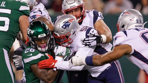 <p>               New England Patriots outside linebacker Elandon Roberts (52) tackles New York Jets' Le'Veon Bell (26) during the first half of an NFL football game Monday, Oct. 21, 2019, in East Rutherford, N.J. (AP Photo/Adam Hunger)             </p>