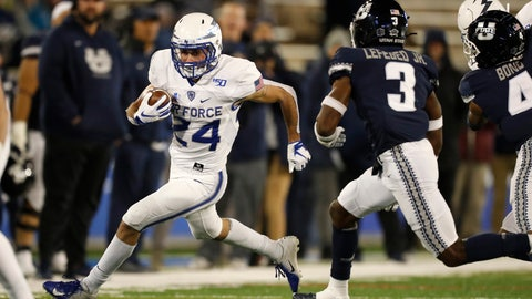 <p>               Air Force running back Kadin Remsberg, left, runs around the corner for a short gain as Utah State safety Troy Lefeged Jr. pursues in the first half of an NCAA college football game Saturday, Oct. 26, 2019, at Air Force Academy, Colo. (AP Photo/David Zalubowski)             </p>