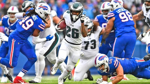 <p>               Philadelphia Eagles' Miles Sanders (26), center, breaks through the Buffalo Bills defense to score a touchdown during the second half of an NFL football game, Sunday, Oct. 27, 2019, in Orchard Park, N.Y. (AP Photo/Adrian Kraus)             </p>