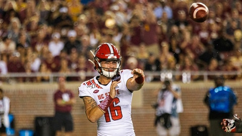 <p>               North Carolina State quarterback Bailey Hockman (16) throws against Florida State in the first half of an NCAA college football game in Tallahassee, Fla., Saturday, Sept. 28, 2019. (AP Photo/Mark Wallheiser)             </p>