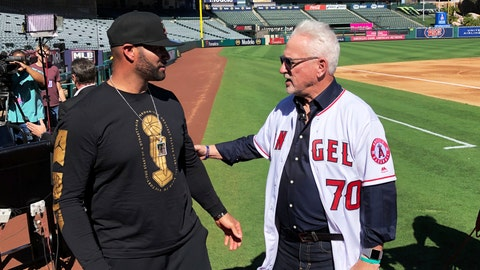 <p>               Los Angeles Angels first baseman Albert Pujols, left, speaks with new manager Joe Maddon after a baseball news conference at Angel Stadium in Anaheim, Calif., Thursday, Oct. 24, 2019. Maddon is returning to the Angels, where he worked as a coach before successful managerial stunts with baseball clubs in Tampa Bay and Chicago. (AP Photo/Greg Beacham)             </p>