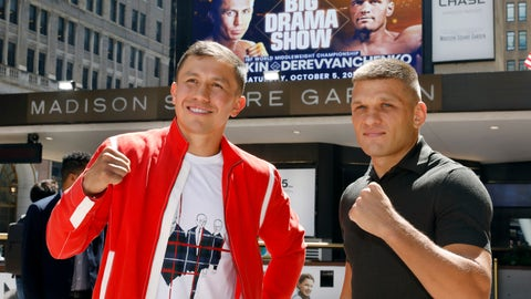 <p>               FILE - In this Aug. 22, 2019, file photo, Kazakhstan's Gennady Golovkin, left, and Ukraine's Sergiy Derevyanchenko, pose for photos after a news conference at New York's Madison Square Garden. Longtime middleweight champion Golovkin can regain one of his old belts when he faces Derevyanchenko on Saturday night. (AP Photo/Richard Drew, File)             </p>