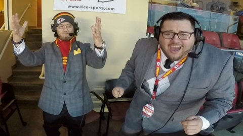 """<p>               This Jan. 6, 2018, photo taken from video and provided by Oscar Monterroso, shows Spanish language broadcasters Oscar """"El Tico"""" Monterroso, left, and Enrique """"Kike"""" Morales working at their broadcast booth inside Arrowhead Stadium in Kansas City, Mo., during the Kansas City Chiefs vs Tennessee Titans NFL wild card game. Monterroso, the color commentator, and Morales, the play-by-play man, have been calling Chiefs games in Spanish since 2011, and will broadcast on Saturday, Oct. 5, 2019, Nebraska's NCAA college football game against Northwestern. Nebraska will be the first school in the Big Ten to offer a Spanish-language radio broadcast for a football game. (Oscar Monterroso/Tico Productions via AP)             </p>"""