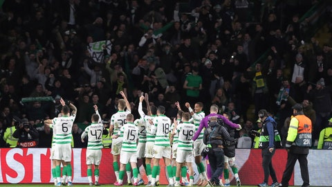 <p>               Celtic's players wave their supporter as they celebrate at the end of the Europa League group E soccer match between Celtic and Lazio at Celtic Park stadium in Glasgow, Scotland, Thursday, Oct. 24, 2019. Celtic won 2-1. (AP Photo/Scott Heppell)             </p>